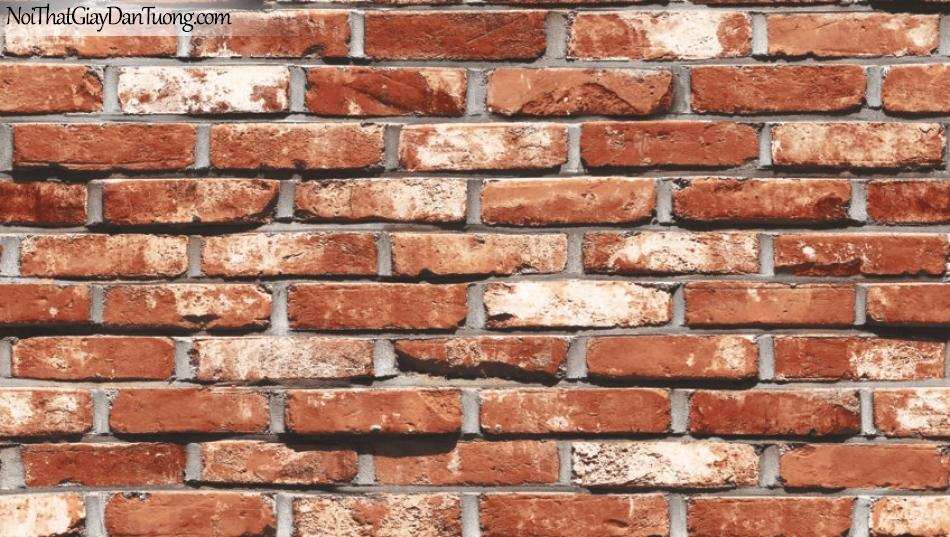 Giấy dán tường giả gạch 3D, giấy dán tường gạch màu trắng đỏ, gạch trắng đỏ 87033-3 g