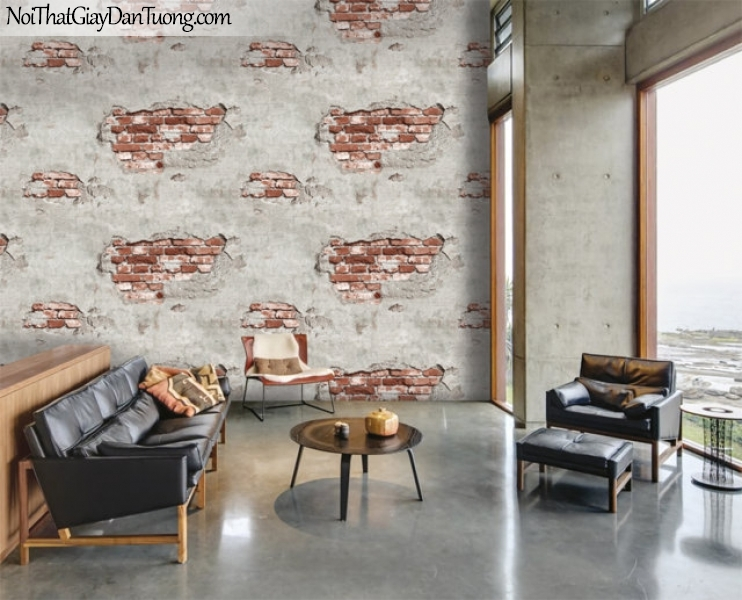 Giấy dán tường giả gạch 3D, giấy dán tường gạch màu trắng đỏ, gạch trắng đỏ 87034-2 g pc