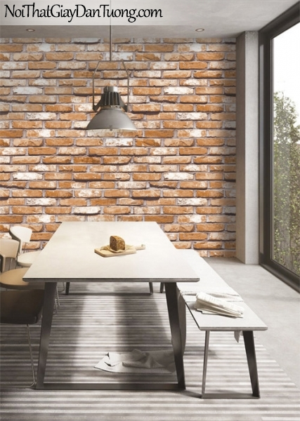 Giấy dán tường giả gạch 3D, giấy dán tường gạch màu trắng đỏ, gạch trắng đỏ nâu 87033-2 g pc