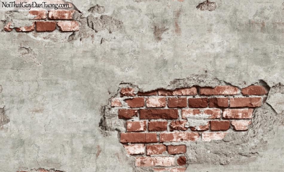 Giấy dán tường giả gạch 3D, giấy dán tường gạch màu trắng đỏ kiểu tường vỡ , gạch trắng đỏ 87034-2 g