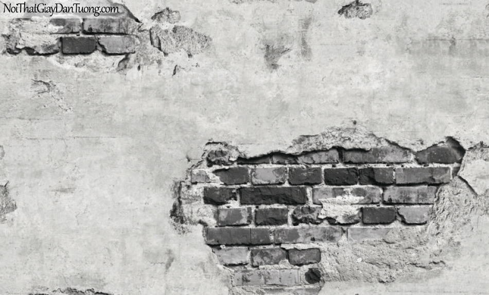 Giấy dán tường giả gạch 3D, giấy dán tường gạch màu trắng xám kiểu tường vỡ , gạch trắng xám 87034-1 g