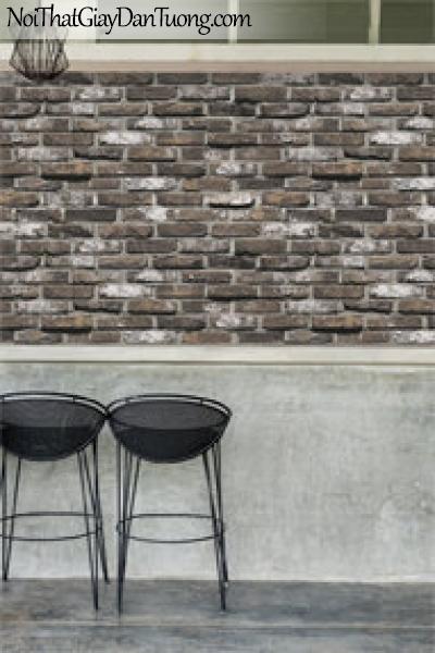 Giấy dán tường giả gạch 3D, giấy dán tường gạch màu xám , gạch xám 87033-4 g pc
