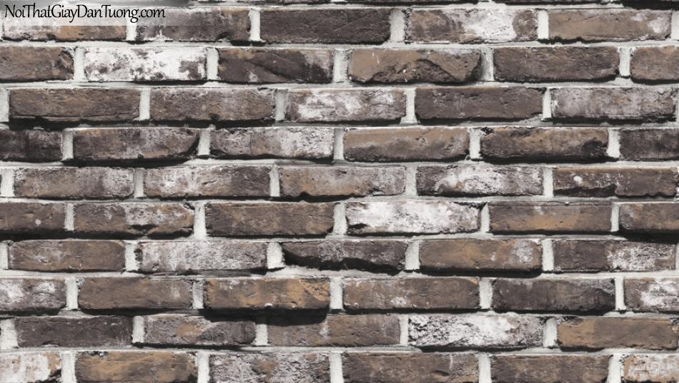Giấy dán tường giả gạch 3D, giấy dán tường gạch màu xám, giả gạch 87033-4 g
