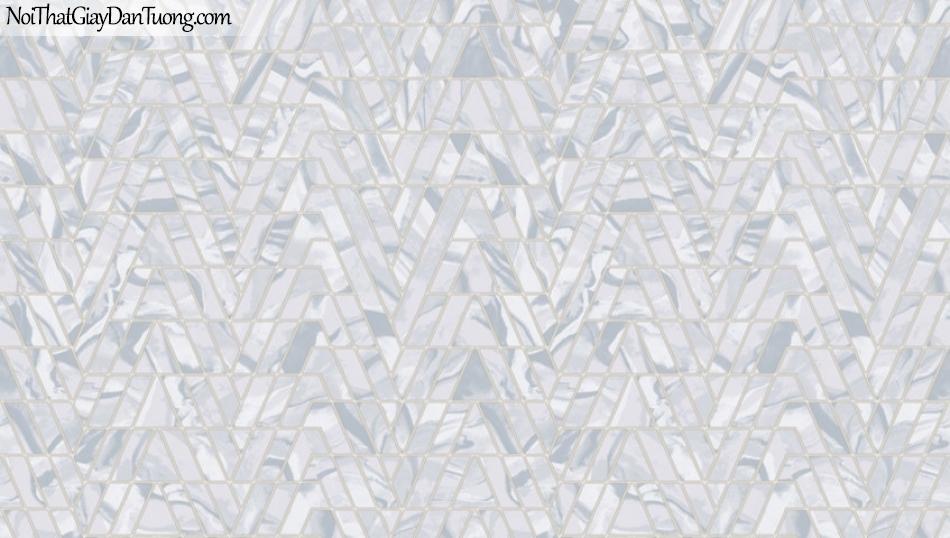 BOS 2018, Giấy dán tường Hàn Quốc 81109-6, giấy dán tường hoa văn cổ điển, sọc kẻ chữ V, màu nâu xám, xanh