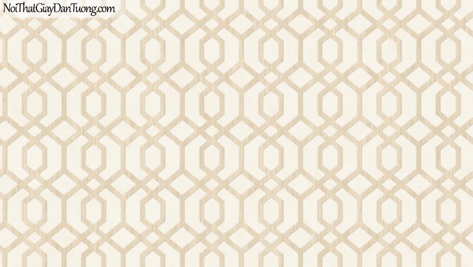 BOS 2018, Giấy dán tường Hàn Quốc 81116-1, giấy dán tường sọc kẻ vuông, hình thoi, màu vàng kem