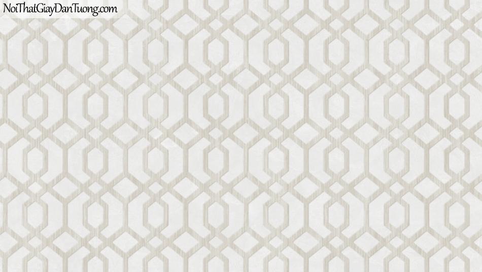 BOS 2018, Giấy dán tường Hàn Quốc 81116-2, giấy dán tường sọc kẻ vuông, hình thoi, màu xám khói