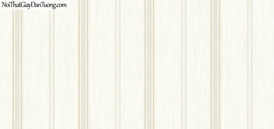 BOS 2018, Giấy dán tường Hàn Quốc 81119-1, giấy dán tường sọc kẻ đứng, màu kem trắng