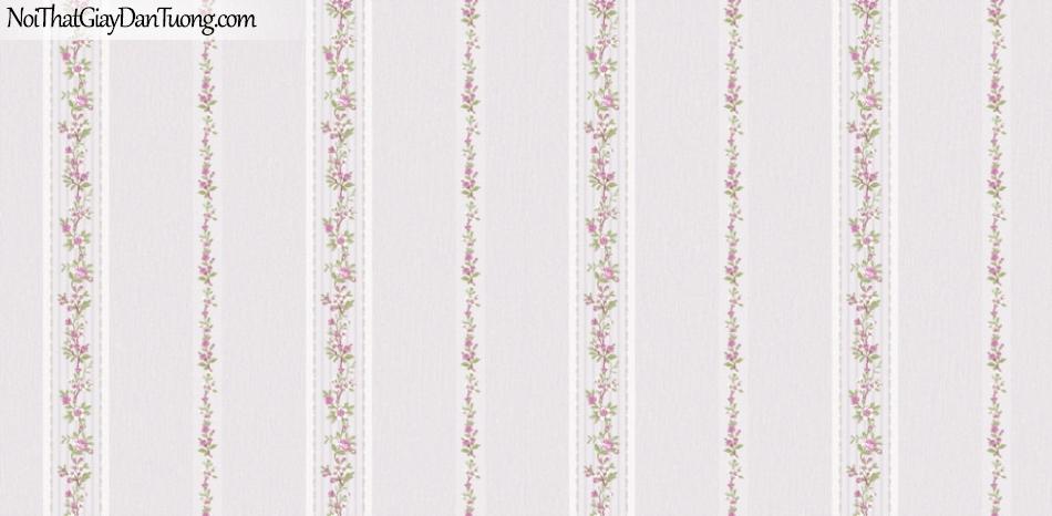 BOS 2018, Giấy dán tường Hàn Quốc 81122-5, giấy dán tường nền xám, hoa văn sọc đứng, hoa, lá cây