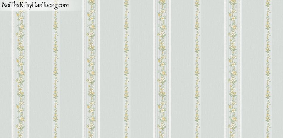 BOS 2018, Giấy dán tường Hàn Quốc 81122-6, giấy dán tường nền xanh xám, hoa, lá cây, sọc đứng