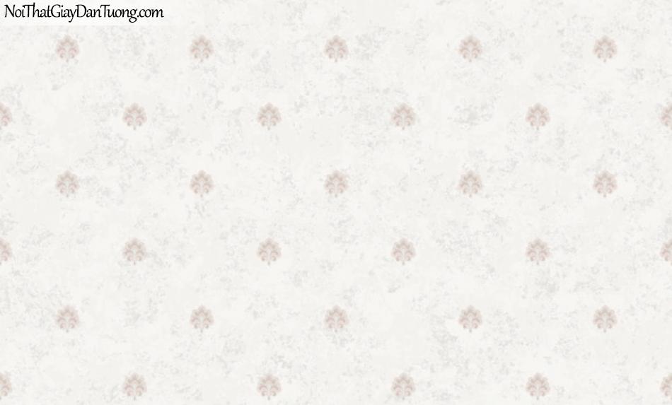 BOS 2018, Giấy dán tường Hàn Quốc 81125-1, giấy dán tường nền hồng, hoa văn cổ điển màu tím