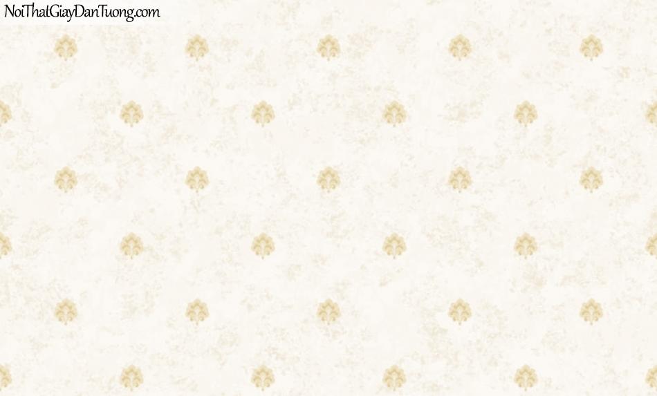 BOS 2018, Giấy dán tường Hàn Quốc 81125-2, giấy dán tường nền vàng kem, hoa văn cổ điển màu vàng