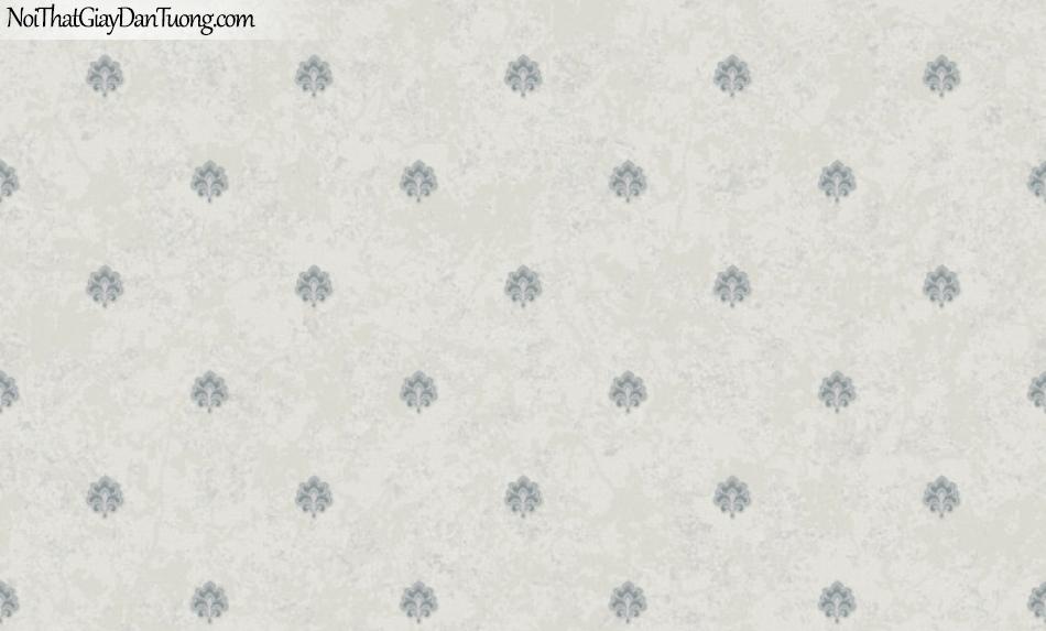 BOS 2018, Giấy dán tường Hàn Quốc 81125-4, giấy dán tường nền xám, hoa văn cổ điển màu xanh