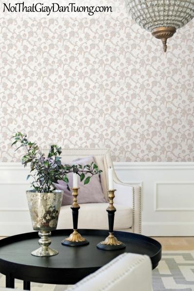 BOS 2018, Giấy dán tường Hàn Quốc 81126-1 PC, giấy dán tường nền hồng, hoa văn cổ điển màu nâu xám, phối cảnh