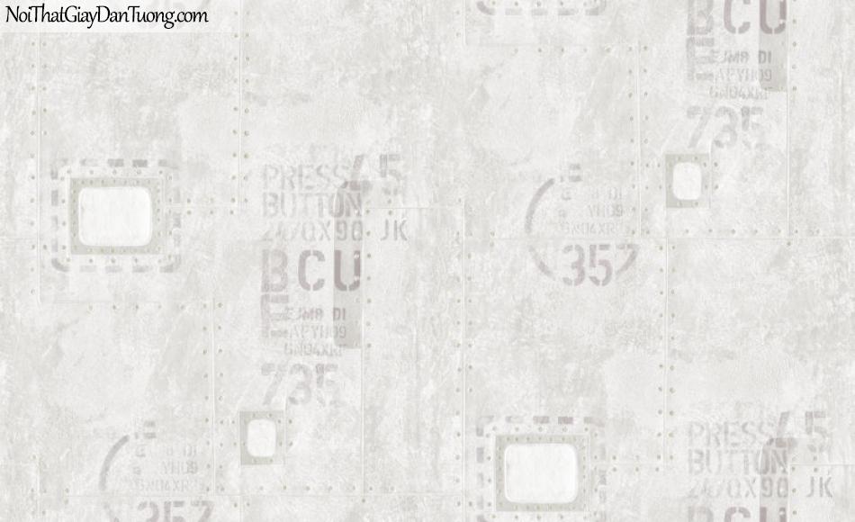 ELYSIA 2018, Giấy dán tường Hàn Quốc 70002-1, giấy dán tường chữ nổi, màu trắng xám