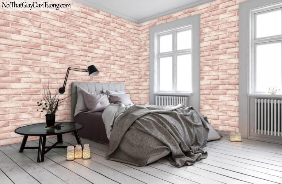ELYSIA 2018, Giấy dán tường Hàn Quốc 70003-3 PC, giấy dán tường giả gạch, kẻ vuông, màu hồng gạch, phối cảnh