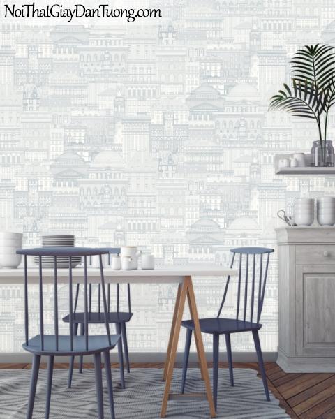 ELYSIA 2018, Giấy dán tường Hàn Quốc 70005-1 PC, giấy dán tường gạch ngang, kẻ sọc, kẻ xiết, màu trắng xám, phói cảnh