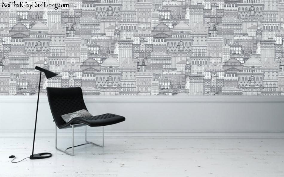 ELYSIA 2018, Giấy dán tường Hàn Quốc 70005-2 PC, giấy dán tường kẻ sọc, kẻ ngang, thành phố, màu nâu xám, phối cảnh