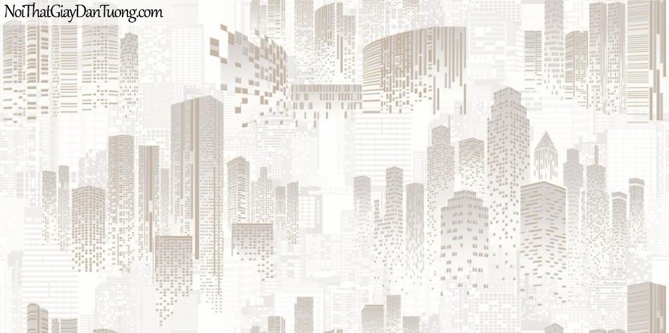 ELYSIA 2018, Giấy dán tường Hàn Quốc 70006-1, giấy dán tường họa tiết thành phố, sọc kẻ, sọc đứng, màu vàng kem