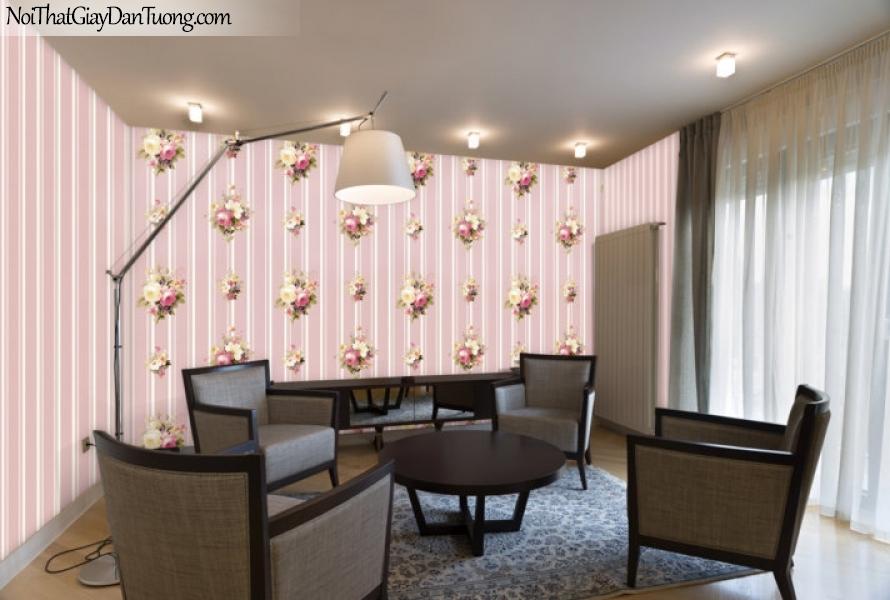 ELYSIA 2018, Giấy dán tường Hàn Quốc 70020-4, 70022-4 PC, giấy dán tường sọc đứng, gân nhỏ, hoa văn, màu hồng, phối cảnh