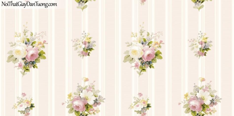 ELYSIA 2018, Giấy dán tường Hàn Quốc 70022-3, giấy dán tường sọc đứng, gân nhỏ, nền cam hồng, hoa văn họa tiết