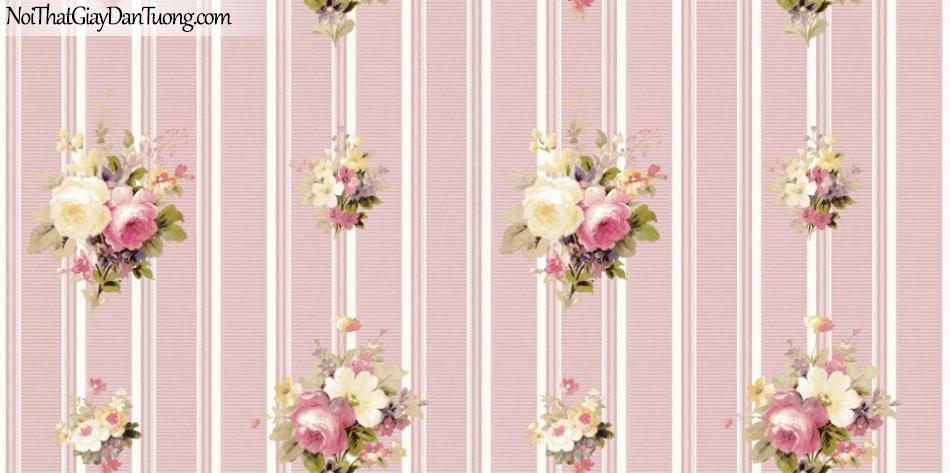 ELYSIA 2018, Giấy dán tường Hàn Quốc 70022-4, giấy dán tường sọc đứng, gân nhỏ, hoa văn họa tiết, nền hồng
