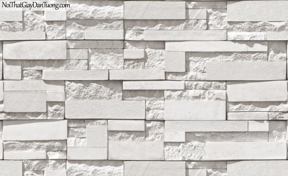 Giấy dán tường Natural Hàn Quốc 87003-1, giả gạch, giả đá giả gỗ 3D, giấy dán tường giả đá trắng
