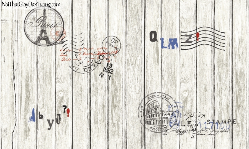 Giấy dán tường Natural Hàn Quốc 87004-1, giả gạch, giả đá, giả gỗ 3D, giấy dán tường giả gỗ xám, chữ nổi