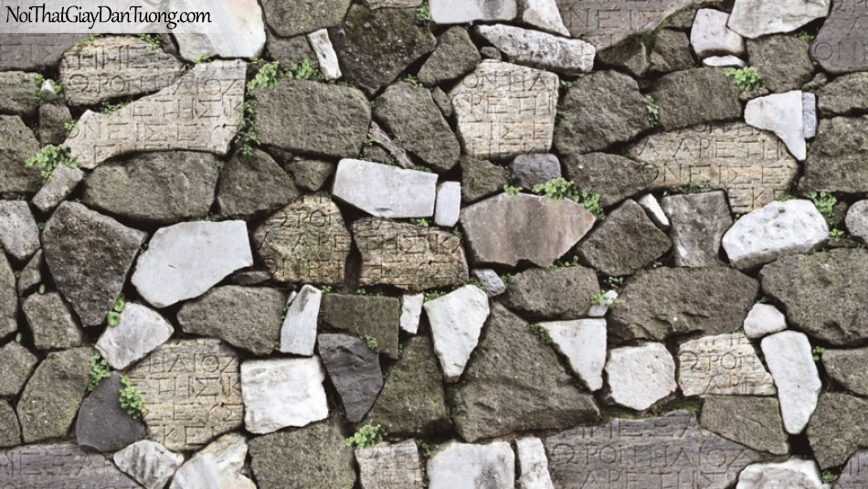 Giấy dán tường Natural Hàn Quốc 87012-2, giả gạch, giả đá, giả gỗ 3D, giấy dán tường giả đá, màu xám