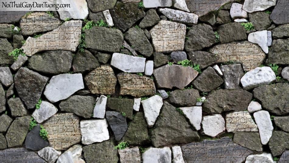 Giấy dán tường Natural Hàn Quốc 87012-3, giả gạch, giả đá, giả gỗ 3D, giấy dán tường giả đá, nâu xám