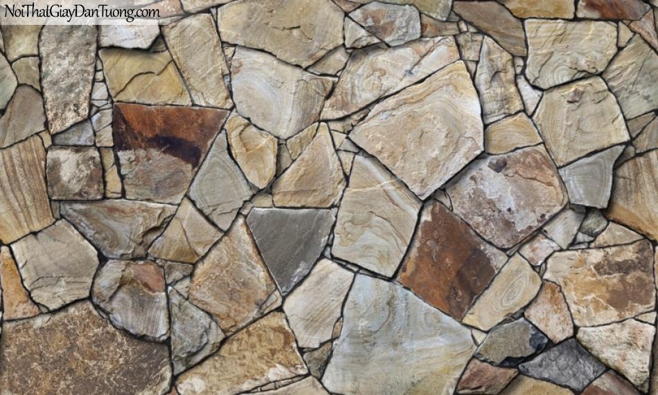 Giấy dán tường Natural Hàn Quốc 87017-3, giả gạch, giả đá, giả gỗ 3D, giấy dán tường giả đá, nâu xám
