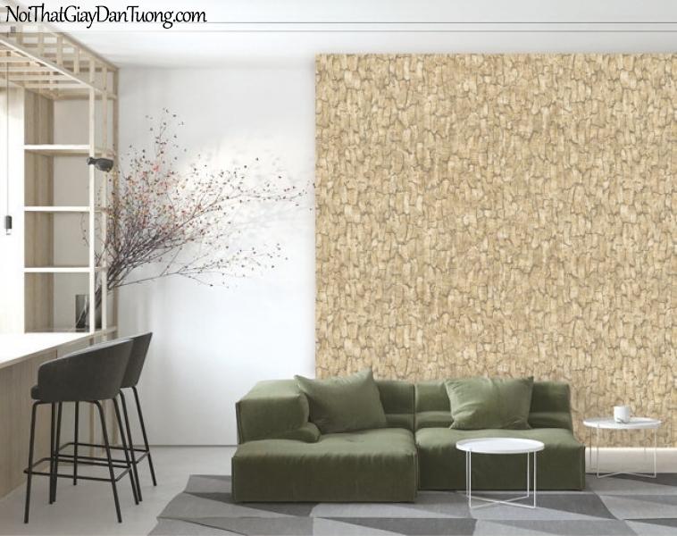 Giấy dán tường Natural Hàn Quốc 87021-1 PC, giả gạch, giả đá, giả gỗ 3D, giấy dán tường giả gỗ, màu vàng cát, phối cảnh
