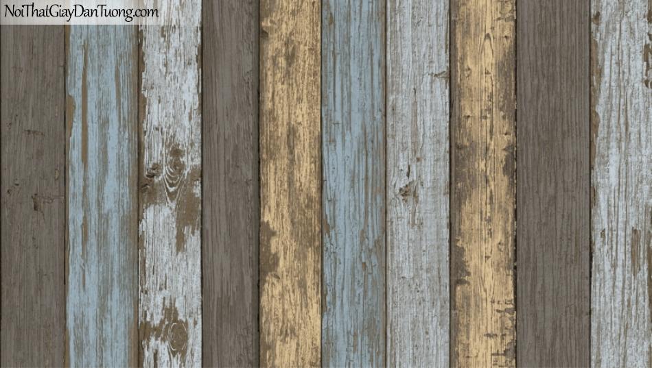 Giấy dán tường Natural Hàn Quốc 87022-4, giả gạch, giả đá, giả gỗ 3D, giấy dán tường giả gỗ, màu vàng xanh