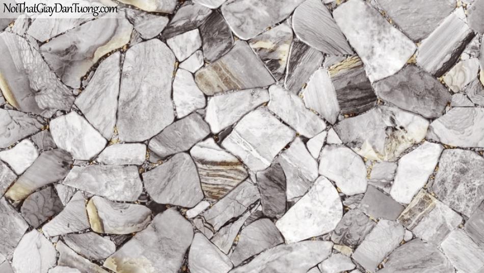 Giấy dán tường Natural Hàn Quốc 87028-2, giả gạch, giả đá, giả gỗ 3D, giấy dán tường giả đá, màu trắng xám