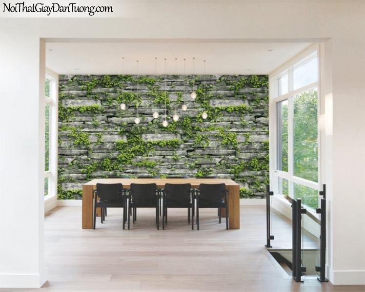Giấy dán tường Natural Hàn Quốc 87029-1 PC, giả gạch, giả đá, giả gỗ 3D, giấy dán tường giả đá, cây lá, dây leo, phối cảnh