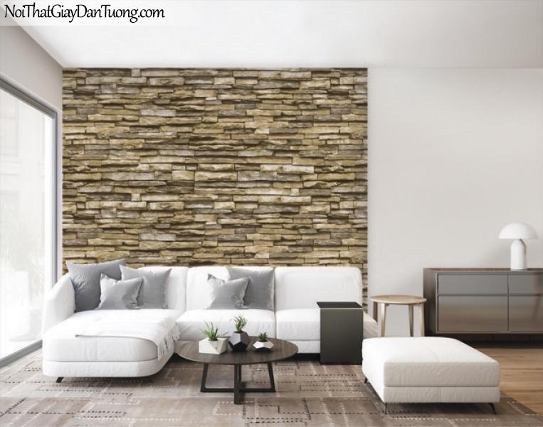 Giấy dán tường Natural Hàn Quốc 87030-3 PC, giả gạch, giả đá, giả gỗ 3D, giấy dán tường giả đá, vàng cát, phối cảnh