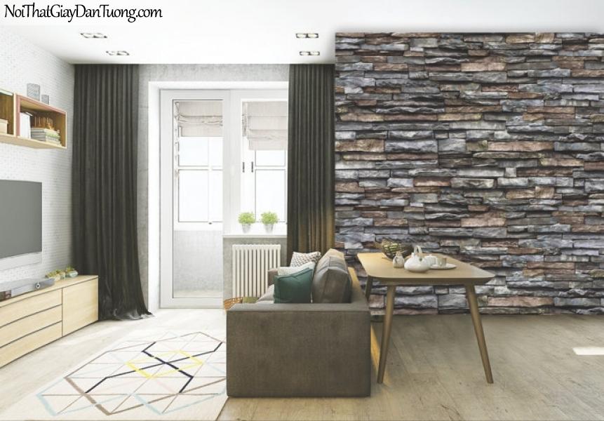 Giấy dán tường Natural Hàn Quốc 87030-4 PC, giả gạch, giả đá, giả gỗ 3D, giấy dán tường giả đá, màu nâu xám, phối cảnh