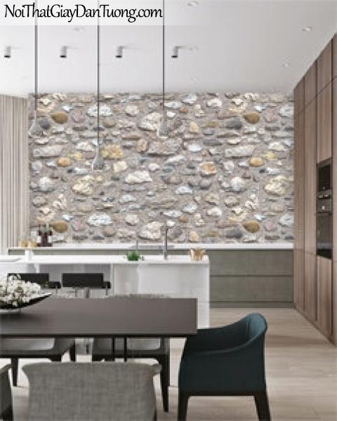 Giấy dán tường Natural Hàn Quốc 87031-1 PC, giả gạch, giả đá, giả gỗ 3D, giấy dán tường giả đá, màu nâu xám, phối cảnh