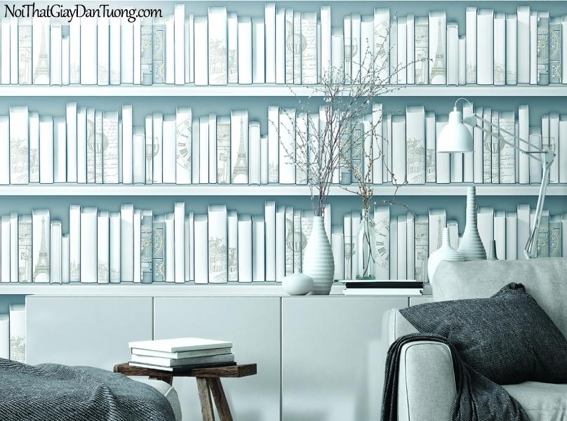 Giấy dán tường FIESTA Hàn Quốc 516300466_3, giả tranh, giả gỗ, hoa lá, cây xanh, tranh 3D, giấy dán tường kệ sách màu trắng xám