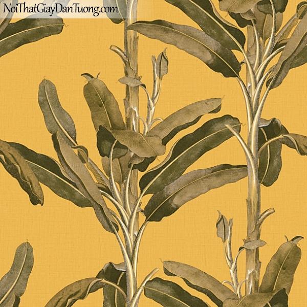 Giấy dán tường FIESTA Hàn Quốc 516300466_3, giả tranh, giả gỗ, hoa lá, cây xanh, tranh 3D, giấy dán tường nền vàng, lá cây