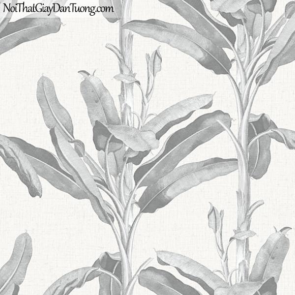 Giấy dán tường FIESTA Hàn Quốc FE1601-1, giả tranh, giả gỗ, hoa lá, cây xanh, tranh 3D, giấy dán tường cây lá màu trắng xám