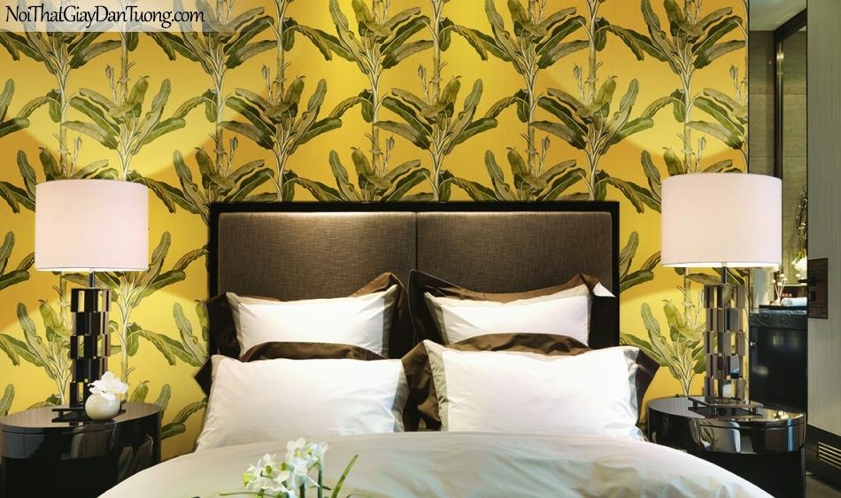 Giấy dán tường FIESTA Hàn Quốc FE1601-4 PC, giả tranh, giả gỗ, hoa lá, cây xanh, tranh 3D, giấy dán tường nền vàng, lá cây, phối cảnh