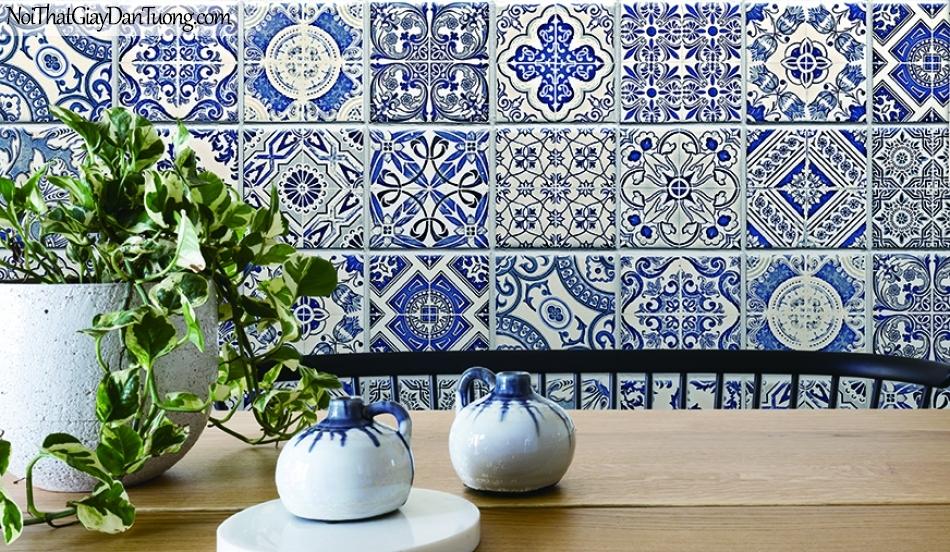 Giấy dán tường FIESTA Hàn Quốc FE1604-1 PC, giả tranh, giả gỗ, hoa lá, cây xanh, tranh 3D, giấy dán tường gân nhỏ, họa tiết, hoa văn cổ điển xưa, màu xanh, phối cảnh