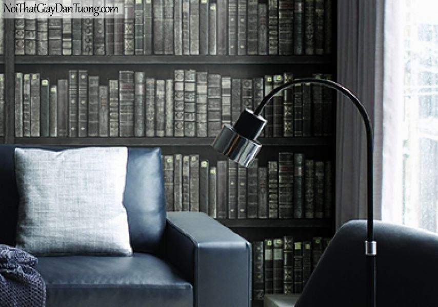 Giấy dán tường FIESTA Hàn Quốc FE1606-3 PC, giả đá, giả gạch, tranh 3D, giả kệ sách, giấy dán tường giả kệ sách, màu nâu đen, phối cảnh