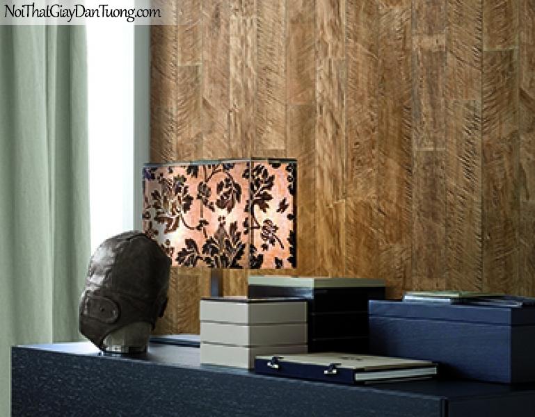 Giấy dán tường FIESTA Hàn Quốc FE1607-3 PC, giả đá, giả gạch, giả gỗ, tranh 3D, giả kệ sách, giấy dán tường giả gỗ, màu vàng xám, phối cảnh