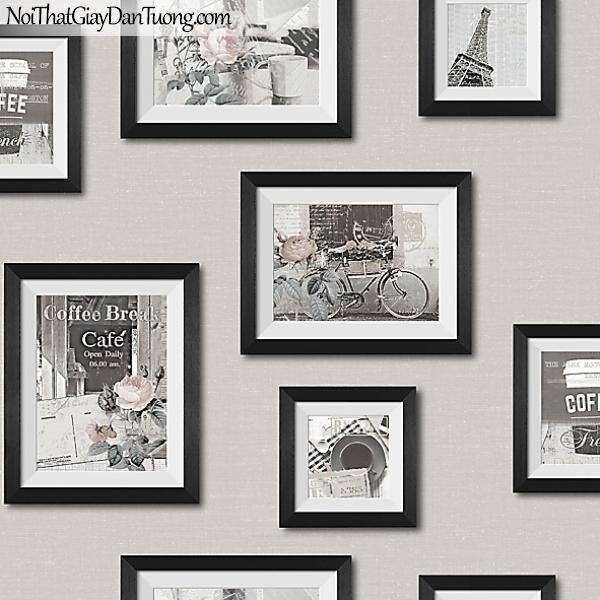 Giấy dán tường FIESTA Hàn Quốc FE1608-3 (2), giả đá, giả gạch, giả gỗ, tranh 3D, giả kệ sách, giấy dán tường giả tranh vẽ in tường, màu xám