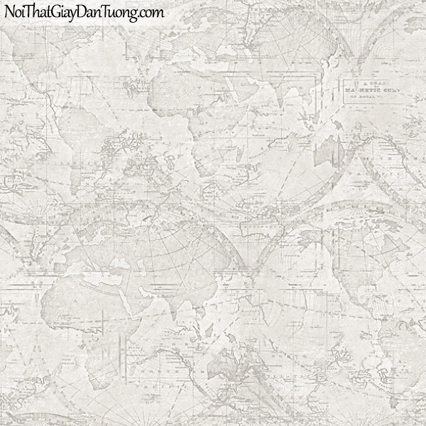 Giấy dán tường FIESTA Hàn Quốc FE1610-1 (2), giả tranh 3D, giả đá, giả gạch, giấy dán tường giả tranh vẽ 3D, cổ điển, bản đồ, quả địa cầu