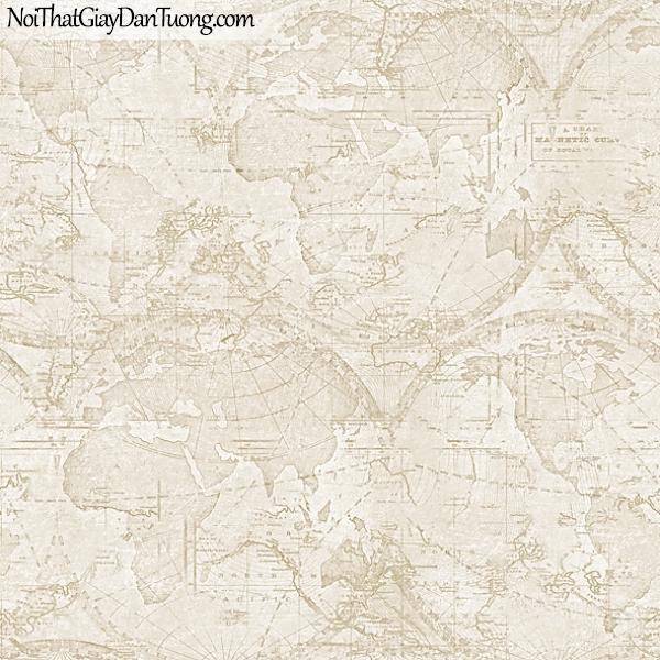 Giấy dán tường FIESTA Hàn Quốc FE1610-2 (2), giả tranh 3D, giả đá, giả gạch, giấy dán tường giả tranh vẽ 3D, cổ điển, bản đồ, quả địa cầu, màu vàng xám