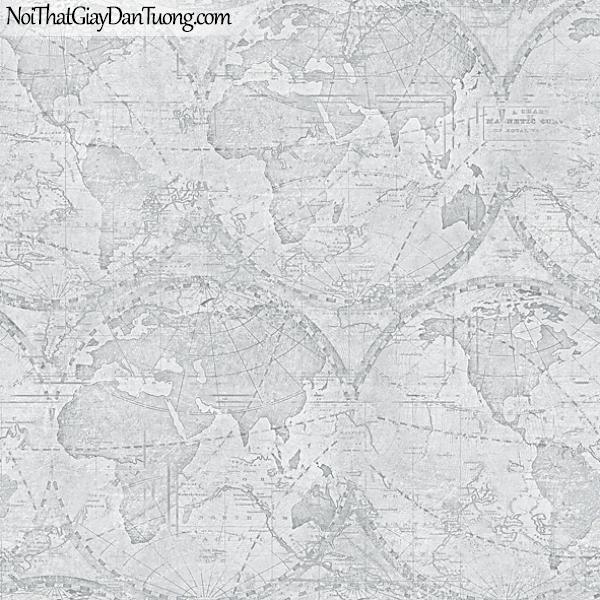 Giấy dán tường FIESTA Hàn Quốc FE1610-3, giả tranh 3D, giả đá, giả gạch, giấy dán tường giả tranh vẽ 3D, cổ điển, bản đồ, quả địa cầu, màu xanh xám