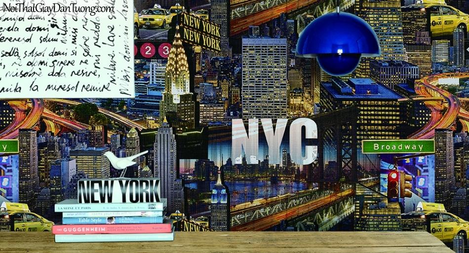 Giấy dán tường FIESTA Hàn Quốc FE1611-1 PC, giả tranh 3D, giấy dán tường giả tranh vẽ 3D, thành phố về đêm, phối cảnh