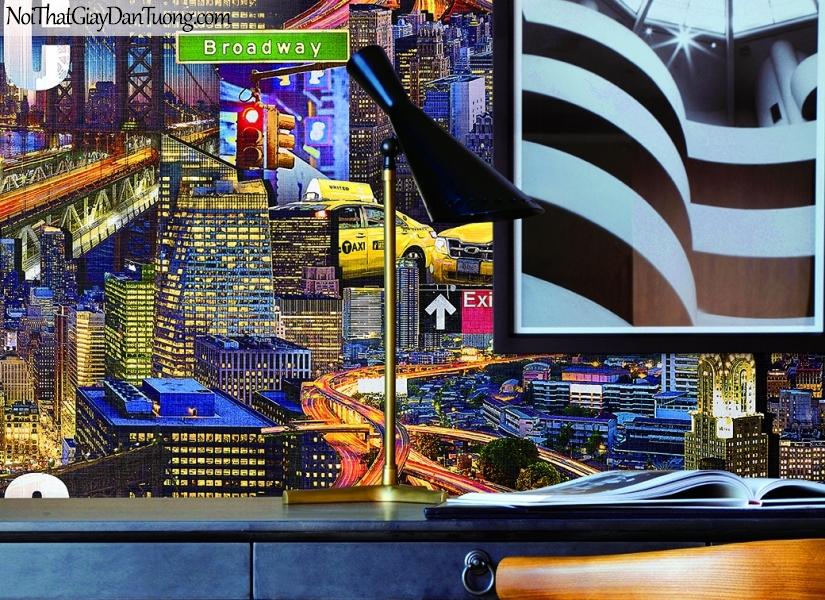 Giấy dán tường FIESTA Hàn Quốc FE1611-1(2) PC, giả tranh 3D, giấy dán tường giả tranh vẽ 3D, thành phố về đêm, phối cảnh